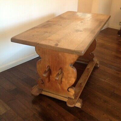 Danish Antique solid oak trestle refectory table / Farm house dining kitchen