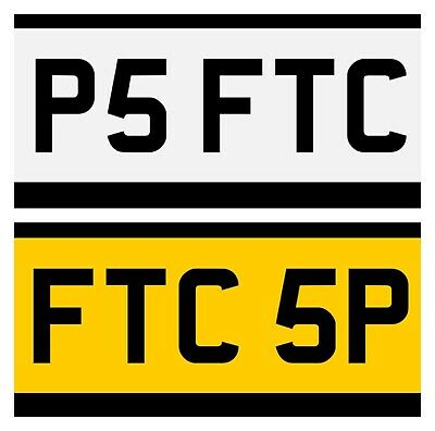 Matching Pair of FTC Plates Exclusively Available Only On eBay. P5 FTC & FTC 5P