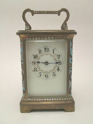 Antique French Carriage Clock w/ French Champlevé Enamel