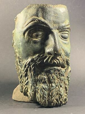 Very Rare Bronze Ancient Roman Jupiter / Zeus Theatrical Mask Circa 100-200 Ad
