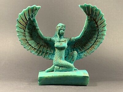 V Rare Detailed Ancient Egyptian Faience Winged Isis God Statue Circa 1200-770Bc