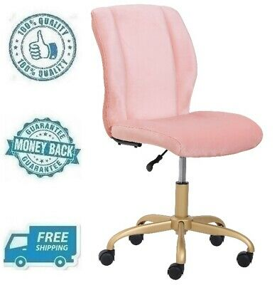 New Pink Plush Velvet Office Chair Pearl Blush Home Mid Back Computer Desk Seat