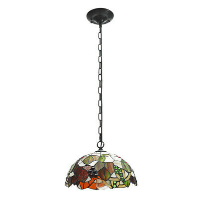 E27 Vintage Tiffany Style Pendant Light Stained Glass Iron Hanging Chain Ceiling