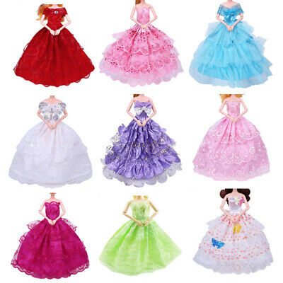 9PCS Handmade Barbie Doll Dress Wedding Party Princess Clothes Outfit for 12in.