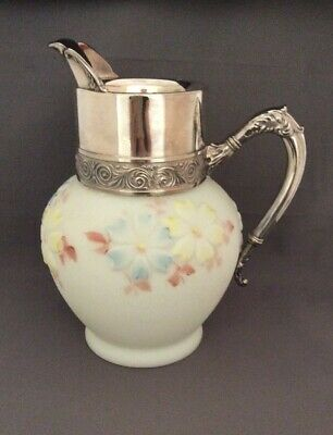 """Antique Consolidated Cosmos Milk Glass and Silver Plate Pitcher 9 1/2"""""""