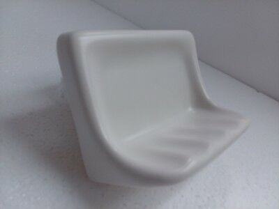 Snow White Ceramic Soap Dish Tray Retro Matt Vintage Flat Look Off White Classic