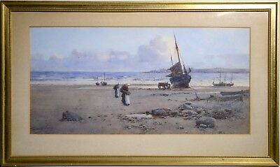 Antique 19th century British Watercolor Master : Collecting Mussels at Low Tide