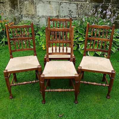 C18th Lancashire Style Spindle Back Oak Rush Seat Set of 4 Country Dining Chairs