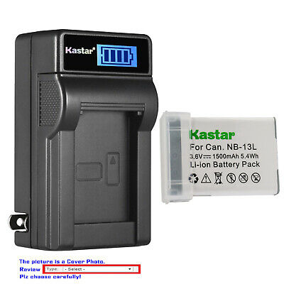 Kastar Battery LCD Wall Charger for Original Canon NB-13L NB13L NB-13LH NB13LH
