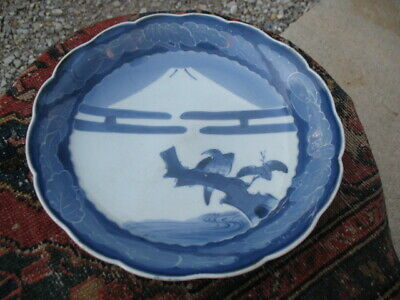 Vintage Japanese Blue White Imari Bowl Bird Mt Fuji 11 1/2""
