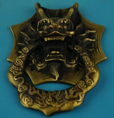 Chinese old Hand Made Copper Casting Lions knocker statue /4 c02