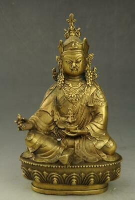 Chinese old fengshui copper hand-carved Padma Sambhava Buddha statue d02