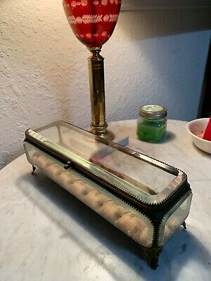 Great Large Antique Casket With Thick Beveled Glass Jewelry / Trinket Box