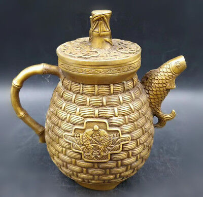Superb Old Chinese Brass Handwork Carved Fish & bamboo Teapot