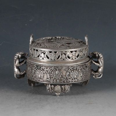 Old Chinese Silvering Copper Dragon Incense Burner Made By The Royal Qianlong