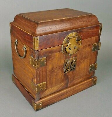 Fine Antique Chinese Carved Huanghuali Wood Scholars Seal Chest Guanpixiang Qing