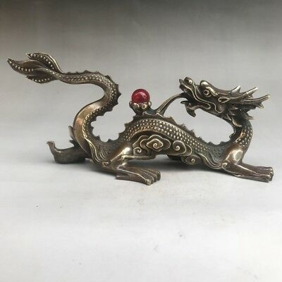 Chinese Old Pure Copper Hand-Carved Propitious Dragon Play Pearl Statue