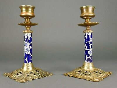 Fine Pair Antique Chinese Blue & White Porcelain Cast French Bronze Candlestick