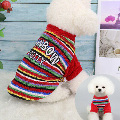Rainbow Dog Knitted Sweater Knitwear Xmas Chihuahua Clothes Pet Puppy Cat Jumper