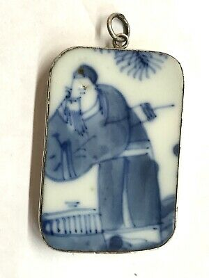 ANTIQUE CHINESE Ming Dynasty HAND PAINTED Pottery Shard STERLING SILVER PENDANT