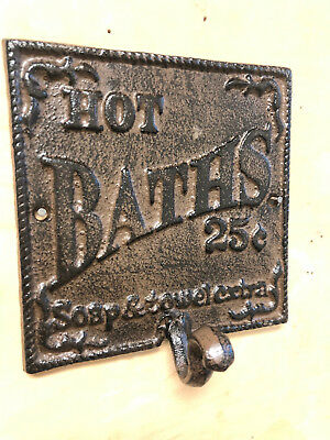 Cast Iron Victorian Style HOT BATH Wall Plaque Coat Towel Hook Rustic