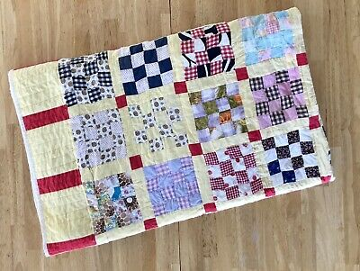 Vintage Handmade Quilt Checkered Squares Multicolor Yellow White