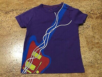 Mini Boden Purple Guitar Shirt Size 1 ½-2 Years Excellent