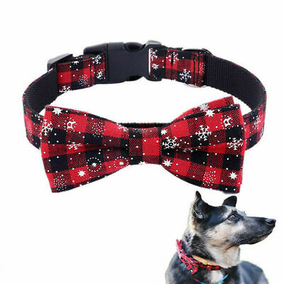Pet Dog Cat Christmas Printed Adjustable Bow-tie Collar Necktie Bowknot Clothes