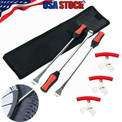 Tire Spoon Lever Iron Tool Motorcycle Bike Tire Change Kit W/ 3Pc Rim Protectors