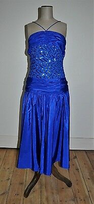 Vintage 80's Sequinned Bodice Electric Blue Party/Disco Dress