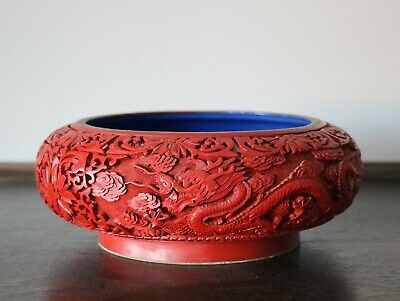 Antique Chinese Middle 20th century lacquer cinnabar bowl brush wash 1068B