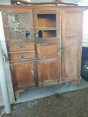 IRA 1930's Kitchen Leadlight Cabinet - Cupboard - Meat Safe - Needs Restoring.