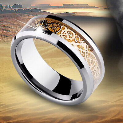 Gold Celtic Dragon Stainless Steel Titanium Men's Wedding Band Rings Size 8