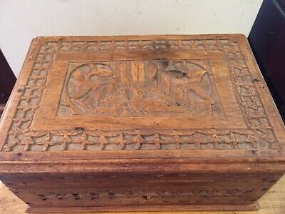 Vintage Carved Wooden Jewellery Decorator Box
