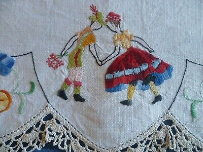 Vintage Hand Embroidered Duchess Set  Couple Dancing  Cream Crocheted Edge