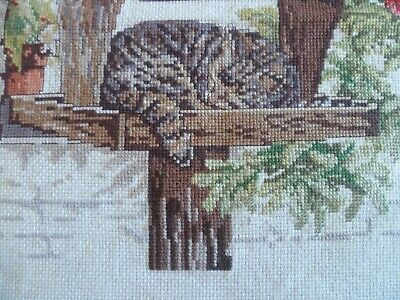 VINTAGE CROSS-STITCHED CAT WITH BIRDS, ready for framing / cushion 35cms x 35cms