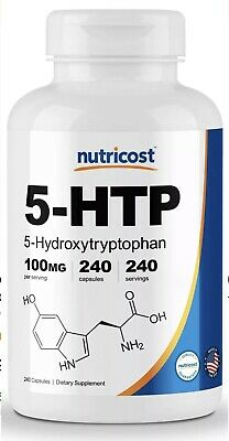 Nutricost 5-HTP 100mg, 240 Capsules (5-Hydroxytryptophan) - EXP 2021