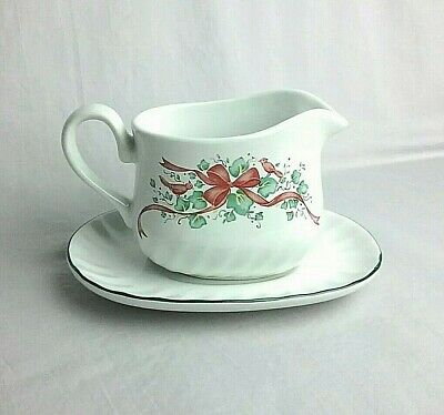 Corelle Callaway Holiday Red Ribbon Christmas Creamer Gravy Boat & Under plate