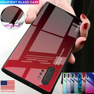 Samsung Galaxy S10+ Note 10+ Plus Tempered Glass Case TPU Shockproof Hard Cover