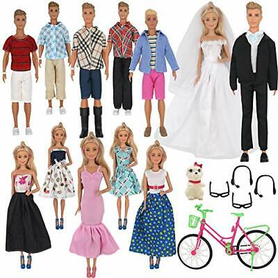 ZTWEDEN 33Pcs Doll Clothes and Accessories for Ken Dolls and Barbie Dolls