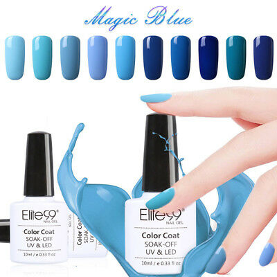 Elite99 4 / 6pcs Kit Gama azul Esmalte Semipermanente Brillante de Uñas en Gel