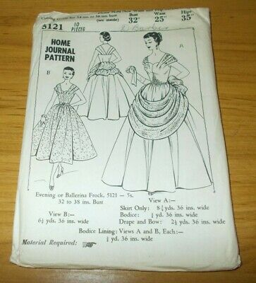 "VINTAGE~HOME JOURNAL PATTERN #5121~MISSES EVENING DRESS~BUST 32""~UNUSED~1950's"