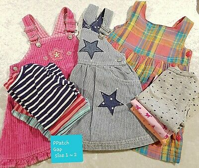 Girls Pinafore Dresses x 3. Mixed Tops x 5 . Size 1 - 2  Bulk Lot.  Gap PPatch