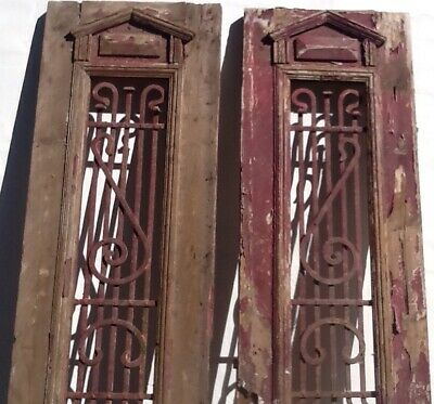 Antique Pair Of French Doors With Beautiful Wrought Iron