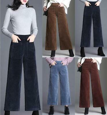 Womens Casual Pants High Waist Loose Wide Leg Autumn Corduroy Cropped Trousers