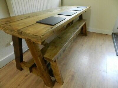 Large 7ft Solid Rustic Handmade Farmhouse table and bench
