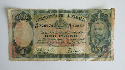 1933 1 Pound Banknote Note Riddle Sheehan Poor Condition N 13 728679