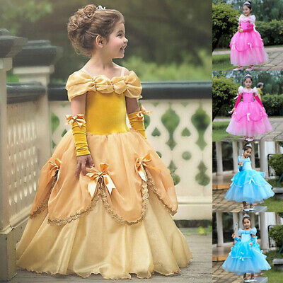 Girls Belle Costume Beauty and the Beast Princess Party Fancy Dress 100-150cm AU