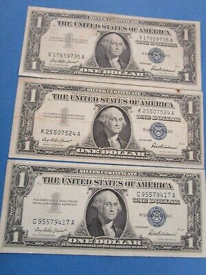 3 x USA 1957 BLUE SEAL Silver Certificate Dollar Notes VF