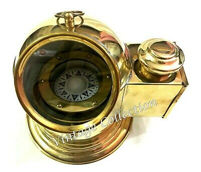 Vintage Brass Polished Floating Dial Binnacle Gimbled Compass Nautical Boat Lamp